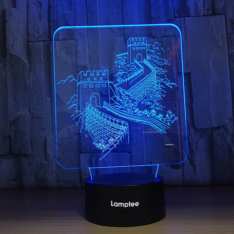 Building Creative Chinese Wind Great Wall Shape 3D Illusion Lamp Night Light 3DL768