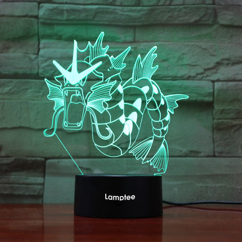 Anime Pokemon Gyarados 3D Illusion Lamp Night Light 3DL830