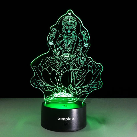 Image of Art Religious Belief Guanyin Bodhisattva 3D Illusion Lamp Night Light 3DL096