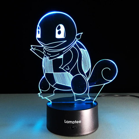 Anime Pokemon Jenny Turtle 3D Illusion Lamp Night Light 3DL226