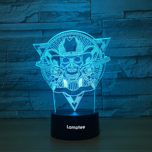 Art Skull With Cap 3D Illusion Lamp Night Light 3DL1311