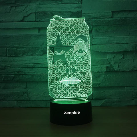 Art Funny Face Can 3D Illusion Lamp Night Light 3DL1347
