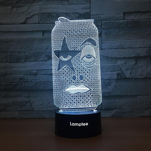 Image of Art Funny Face Can 3D Illusion Lamp Night Light 3DL1347