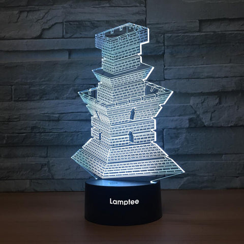 Building Oriental Tower 3D Illusion Lamp Night Light 3DL1281