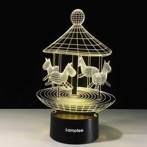 Building Romantic Carousel 3D Illusion Lamp Night Light 3DL404
