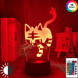 Game Pokemon Go Litten 3D Illusion Lamp Night Light