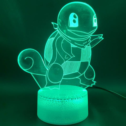 Game Pokemon Go Squirtle Figure Room 3D Illusion Lamp Night Light