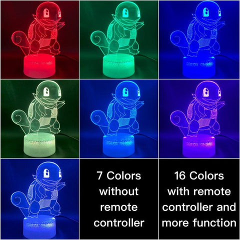 Image of Game Pokemon Go Squirtle Figure Room 3D Illusion Lamp Night Light