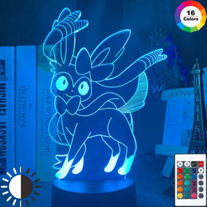 Game Pokemon Go Sylveon Figure 3D Illusion Lamp Night Light