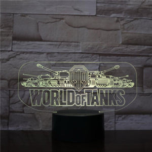 Game World of Tanks 3D Illusion Lamp Night Light