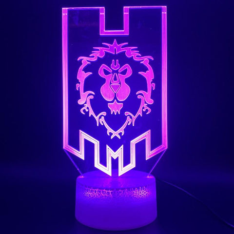 Game World of Warcraft Lion Flag 3D Illusion Lamp Night Light