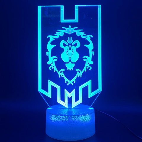 Image of Game World of Warcraft Lion Flag 3D Illusion Lamp Night Light
