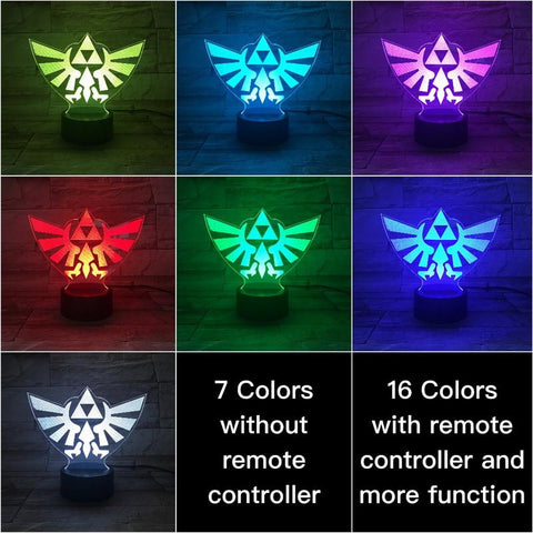 Kids Game The Legend of Zelda Logo 3D Illusion Lamp Night Light