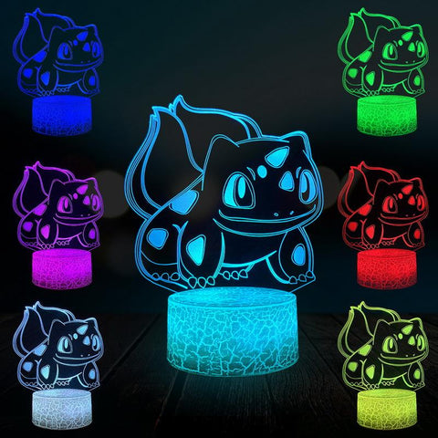 Manga Bulbasaur Pokemon Game Japanese Anime 3D Illusion Lamp Night Light