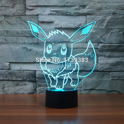 Pokemon Go Eevee Arcylic Pokemon Eevee 3D Illusion Lamp Night Light