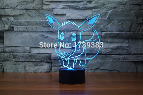 Image of Pokemon Go Eevee Arcylic Pokemon Eevee 3D Illusion Lamp Night Light