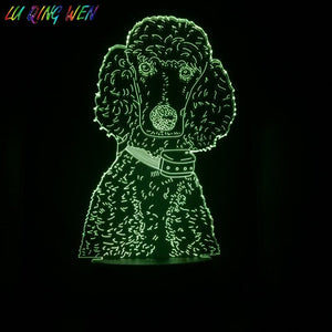 Poodle Dog Baby Sleeping 3D Illusion Lamp Night Light