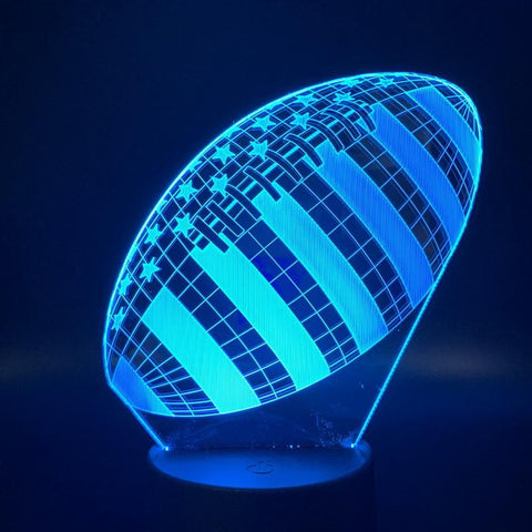 Image of Rugby Football Sport Ball Games 3D Illusion Lamp Night Light