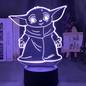 Star Wars Kids Baby Yoda Meme Figure 3D Illusion Lamp Night Light