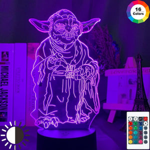 Star Wars Master Yoda Figure 3D Illusion Lamp Night Light 93