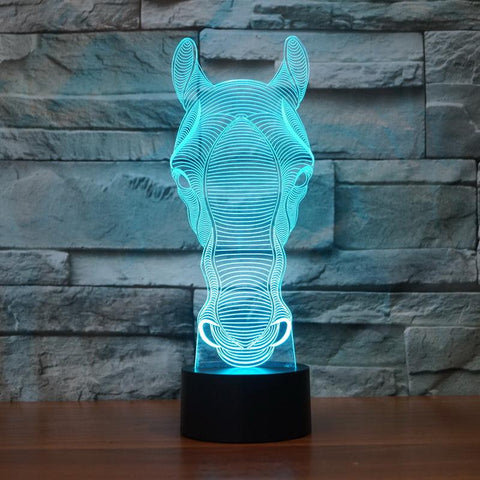 Switch Art Sculpture Table Horse 3D Illusion Lamp Night Light