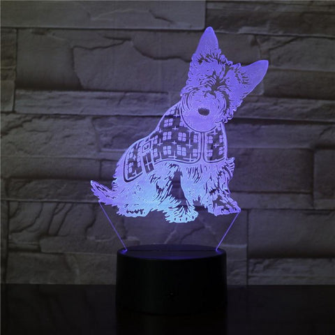 The Puppy Pets Dogs 3D Illusion Lamp Night Light