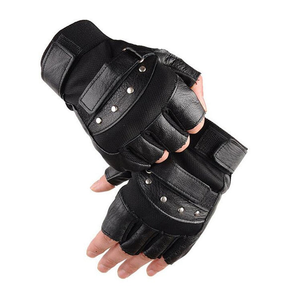 Men's Army Military Tactical Half Finger Leather Fitness Gloves Bike Sport Gloves Gym Exercise Men Black Rivets Punk Gloves G135