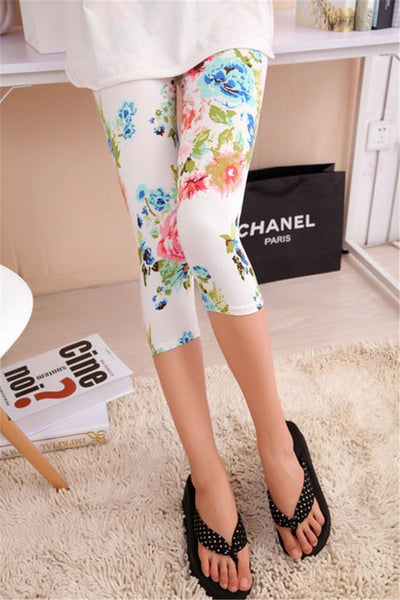 YSDNCHI High Waisted Floral Printing Leggings Women High Quality Capris Lady's Fitness Leggins Sporting Elastic Short Legging
