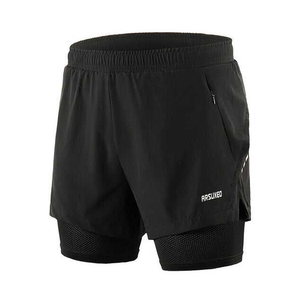 ARSUXEO 2020 Men's Running Shorts 2 in 1 Quick Dry Sports Shorts Active Training Exercise Jogging Shorts Breathable B202