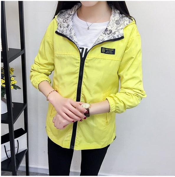 Spring Autumn Fashion women Bomber women Jacket Pocket Zipper Hooded Two Side Wear Outwear Loose Plus Size Windbreaker Famale