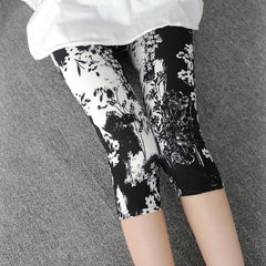 CUHAKCI Printing Pants Women High Quality Capris High Waisted Floral Lady's Fitness Leggings Seventh Elastic Slim Short Leggings