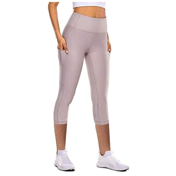 Eshtanga Capris Women Sports Reflective Crop Running Capris Thick Material Bodybuilding Exercise Workout Leggings #YJ