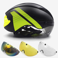 Aero helmet tt time trial cycling helmet for men women goggles race road bike helmet with lens Casco Ciclismo bicycle equipment