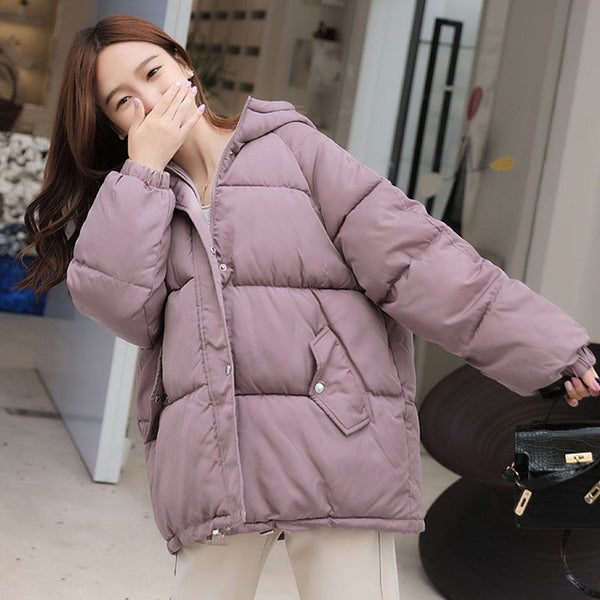 Breasted Buttons Winter Down Jacket For Women Hooded Oversize Loose Padded Female Down Coat Short Casual Puffer Jackets