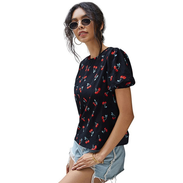 Cute Cherry Print Puffy Sleeve Top T Shirts for Women Kawaii Solid Black O Neck Short Sleeve Cherry Tshirt Plus Size