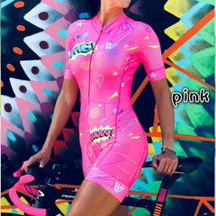 2020 Women's Triathlon Short Sleeve Cycling Jersey Sets Skinsuit Maillot Ropa Ciclismo Bicycle Clothing Bike Shirts Go Jumpsuit