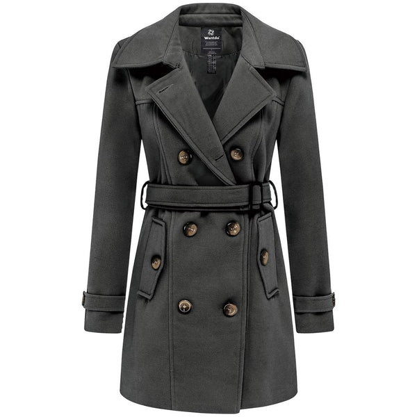 Wantdo Women Winter Trench Jacket Double Breasted Pea Coat With Belt Pockets Mid-Long Plaid Windbreaker Female Coat Outerwear