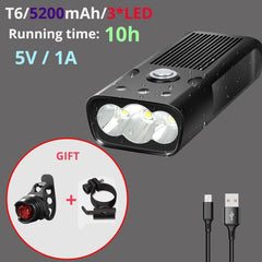 Super Bright Bicycle Light L2/T6 USB Rechargeable 5200mAh Bike Light Waterproof LED Headlight Power Bank Bike Accessories