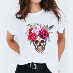 T Shirt  for Women Short Sleeve Floral Skull Mujer Camisetas Halloween Print Lady T-shirts Female Tee Top Womens Graphic T-Shirt