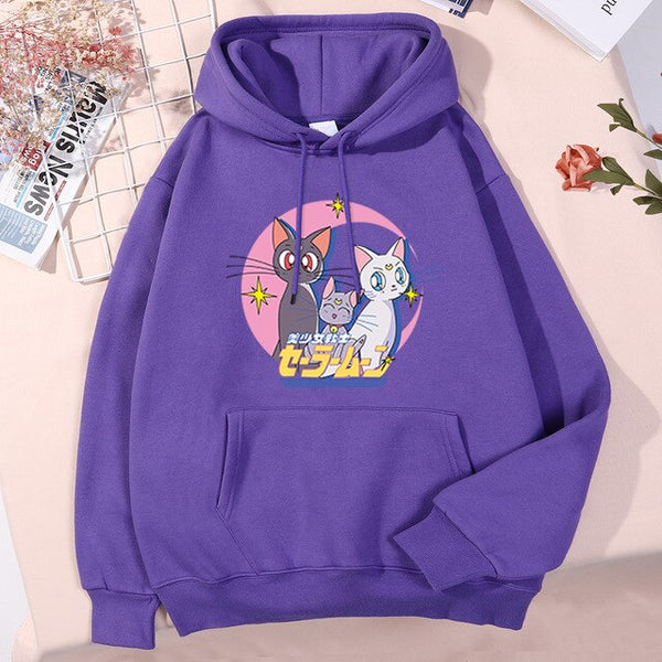 Sailor Moon Cartoon Cute Prints Streetwear Hip Hop Street Man Hoody Autumn Warm Fleece Hooded Fashion Cool Funny Hoodie Men