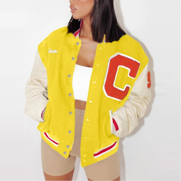 3XL Spring and Autumn Casual Printed Tops Fashion Baseball Uniform Jackets for Women Plus Size Colorblock Streetwear Jackets