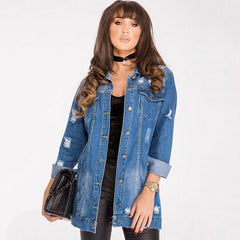 Autumn Winter Solid Turn-down Collar Jean Jacket For Women Loose Casual Fashionable Women Coats Female Outwear Denim Feminine