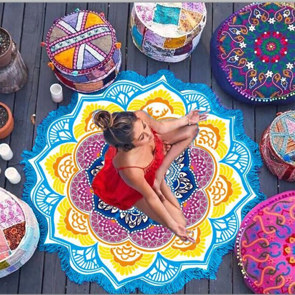 Yoga Mat Chakra Beach Towel Tassel Toalla Mandala Tapestry Sunblock Round Cover-Up Bath Towel Lotus Bohemian  150cm