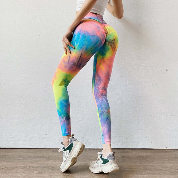 50# Tie-dye Leggings Women Solid Workout Legging Fitness Sports Running Athletic Fitness Sexy Woman Pants Женские штаны