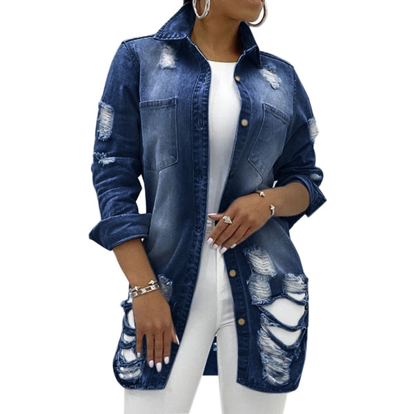 New Solid Turn-down Collar Jean Jacket For Women Loose Casual Blue Fashionable Women Coats Female Outwear Denim Feminine