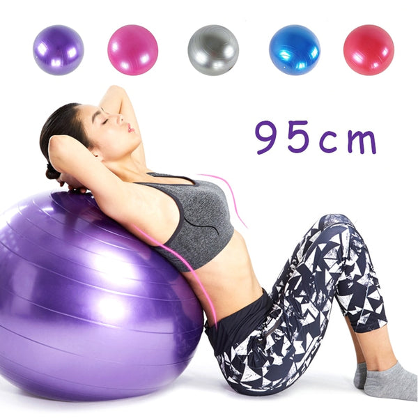 95cm PVC Large Yoga Ball Fitness Balls Thickened Explosion-proof Rehabilitation Exercise Home Gym Pilates Equipment With Pump