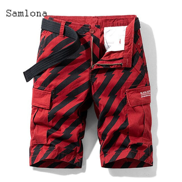 European American style New Men's Leisure Short Patchwork Stripe Pocket Short Pants Summer Casual Short Bottom Men Clothing 2021