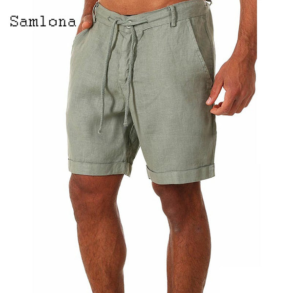 Samlona 2021 New Summer Men's Leisure Shorts Green White Short Pants Drawstring Casual Beachwear Short Bottom Men Clothing