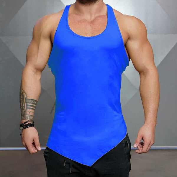Brand Solid Color Clothing Gym tank top men Fitness Sleeveless Shirt Cotton blank Muscle vest Bodybuilding Stringer Tanktop