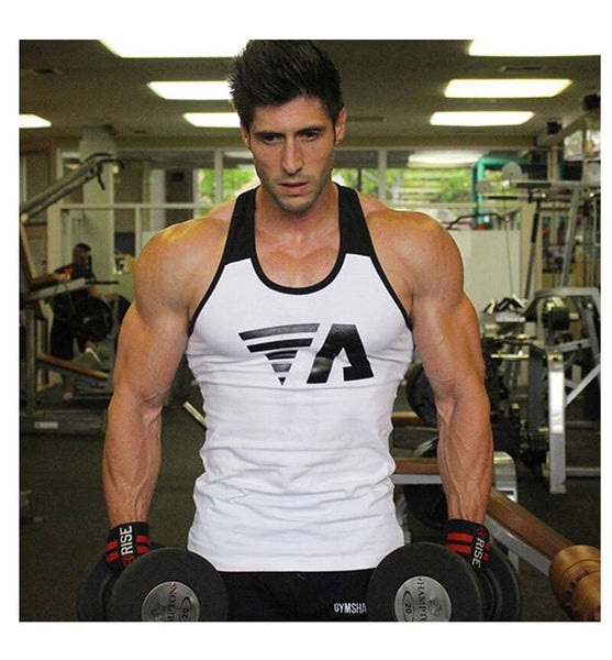 Solid gym men's stringer tank top male exercise bodybuilding undershirt muscle vest tee sleeveless tank top Fashion print top